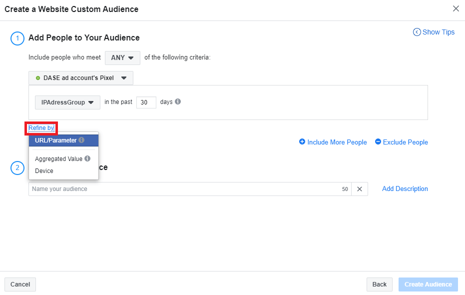 Facebook Business Manager - Custom Audience - Refine by