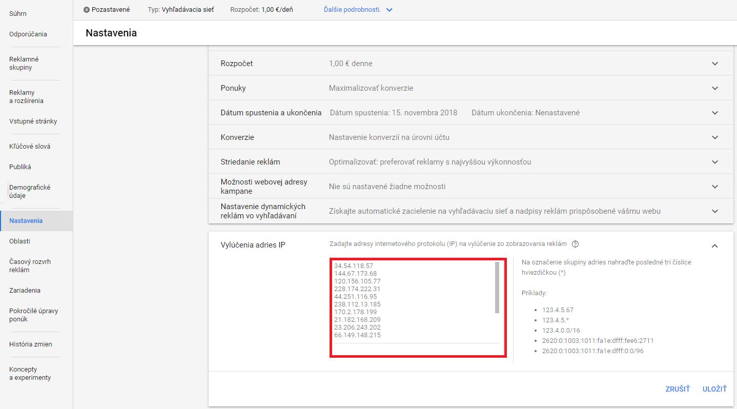Google Ads - Nastavenia - Ďalšie nastavenia - Vylúčenie IP adries