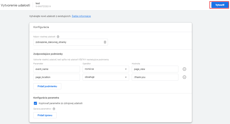 Google Analytics 4 - nová konverzná udalosť - dokončiť