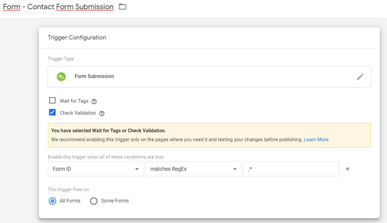 Google Tag Manager (GTM) - Form Submission Trigger