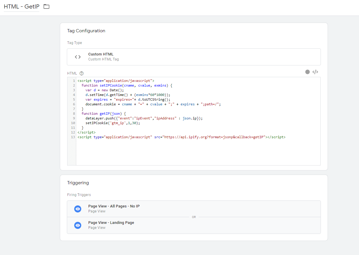 Google Tag Manager - custom HTML - Get IP