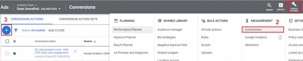 Import konverzií Google Analytics 4 do Google Ads krok 2