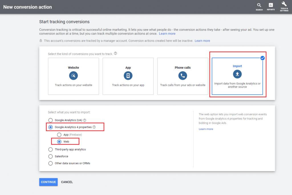 Import konverzií Google Analytics 4 do Google Ads krok 3