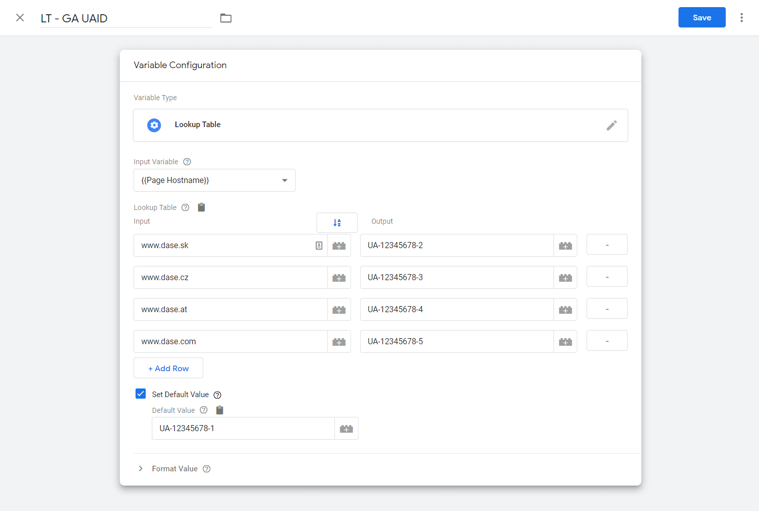 Google Analytics UA ID lookup table in google tag manager