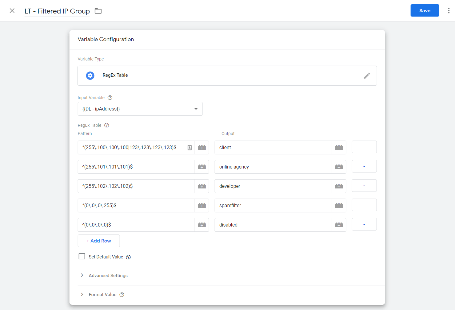 ip filter google tag manager regex table