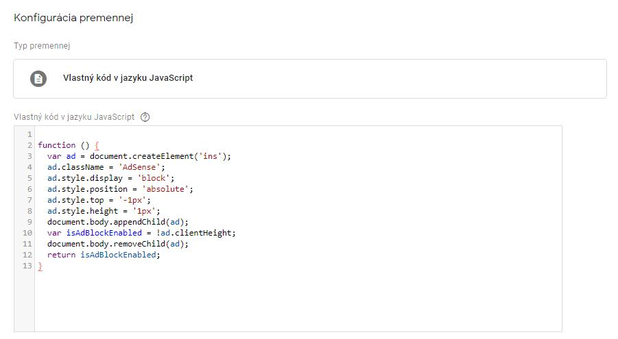 Ukážka konfigurácie premennej custom JavaScript v GTM