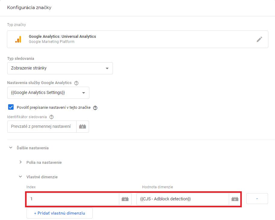 Ukážka konfigurácie značky Google Analytics v GTM