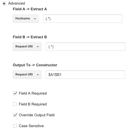 advanced filter in Google Analytics