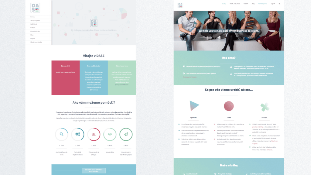 Marketing pre malú firmu - web DASE Analytics