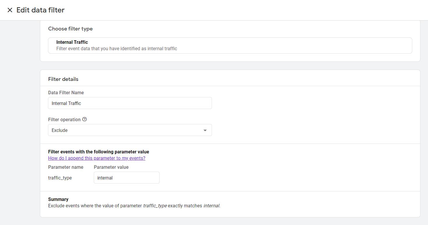 data filter internal traffic ga4