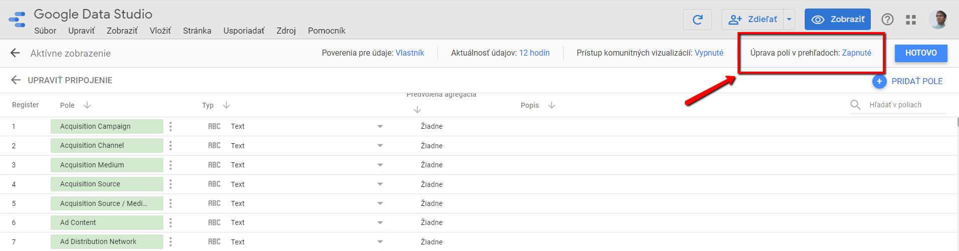 Úprava polí v prehľadoch, Google Data Studio