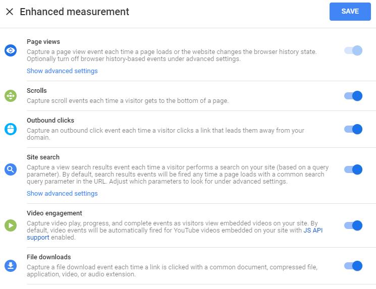 Možnosti automatického merania v Enhanced Measurements.