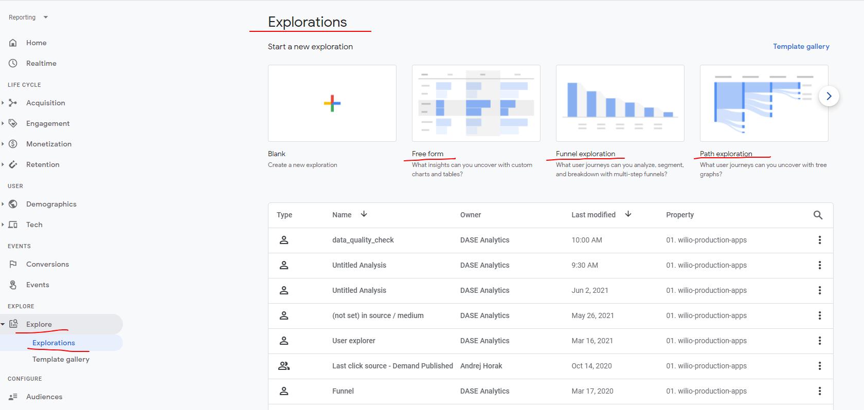explore analysis hub ga4