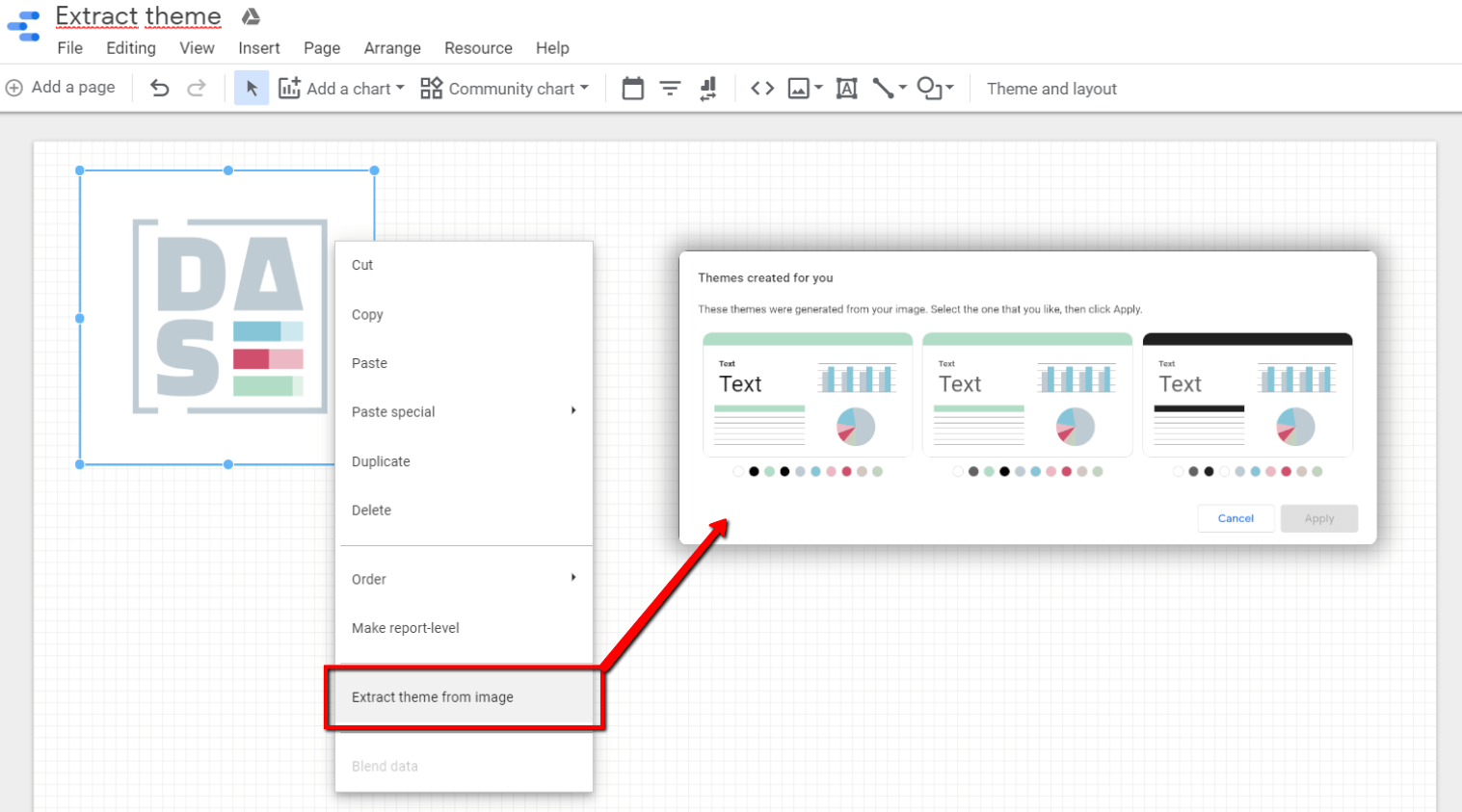Extract theme from image - feature in Data Studio