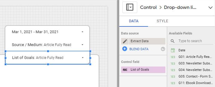 filter parameter data studio