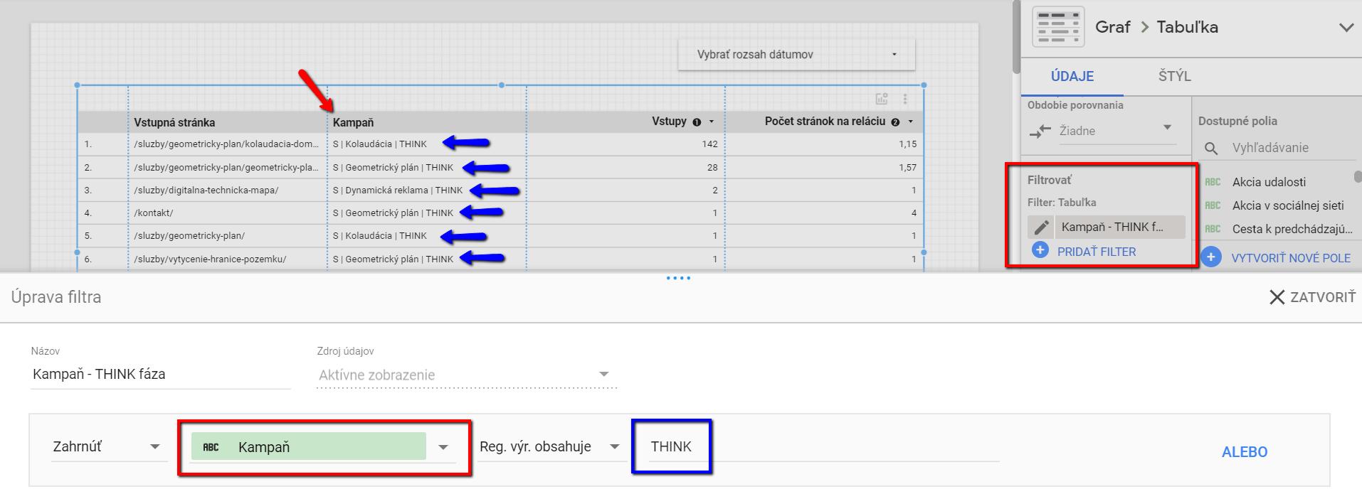 Google Data Studio - filter, nastavenie filtra cez regex, úprava tabuľky, screenshot