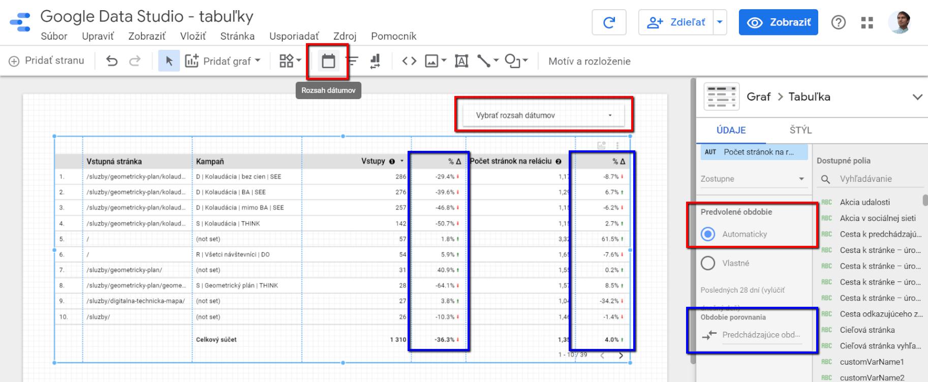 Google Data Studio - filter dátumov, porovnanie s minulým obdobím