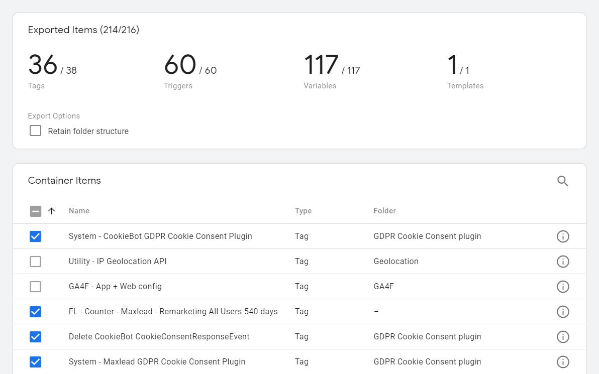 Nové možnosti exportu Google Tag Manager