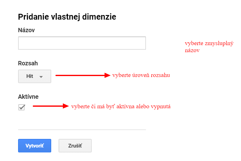 Pridanie vlastnej dimenzie v Google Analytics