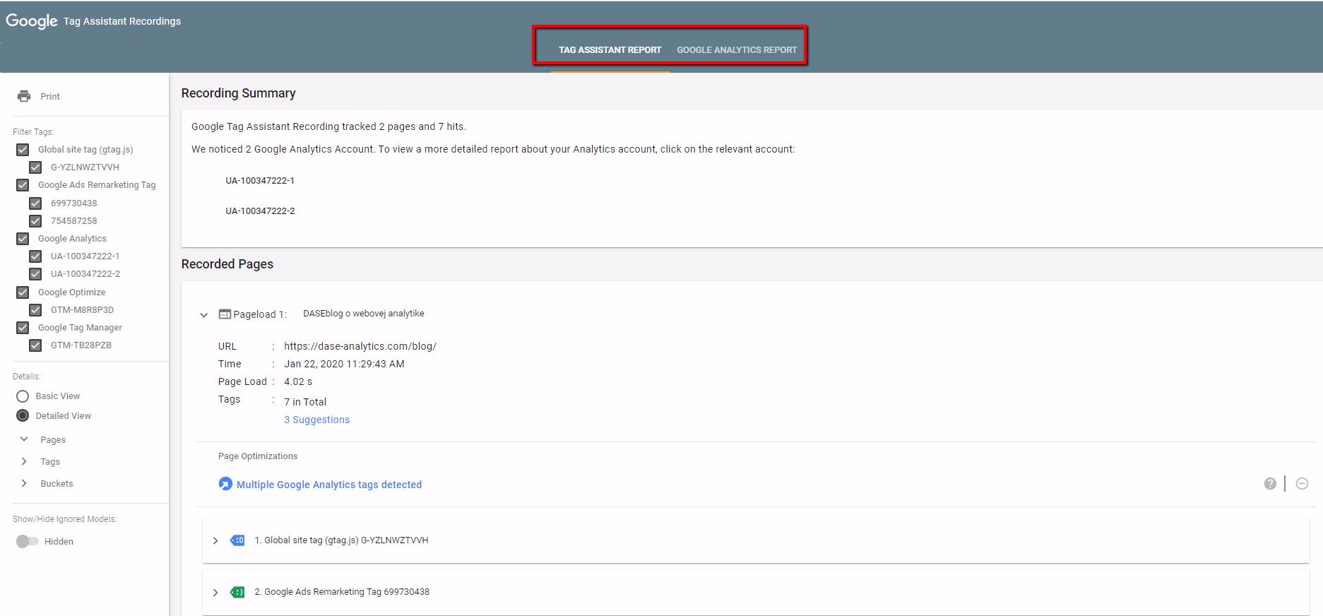 google tag assistant - report