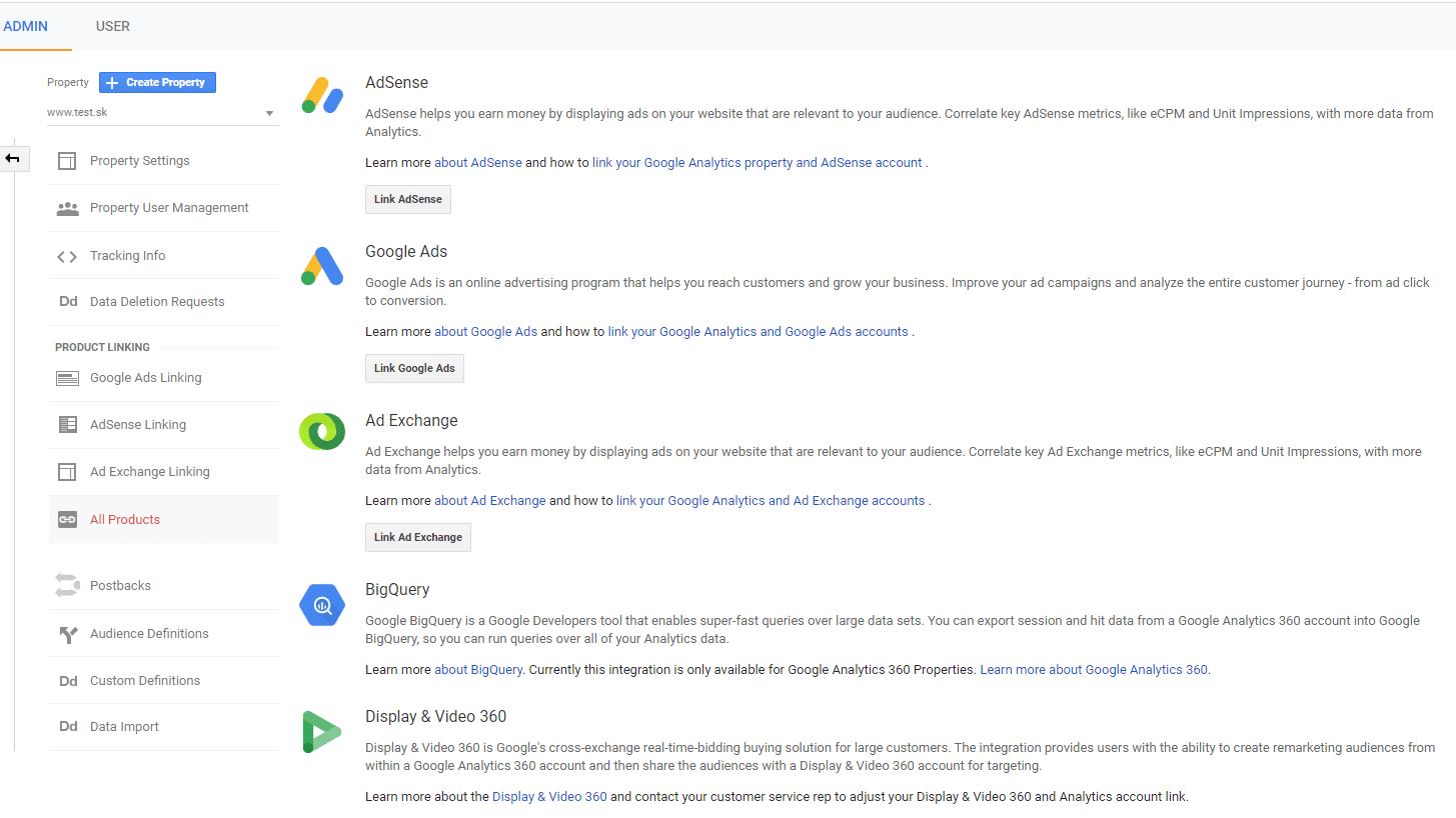 google analytics prepojenie