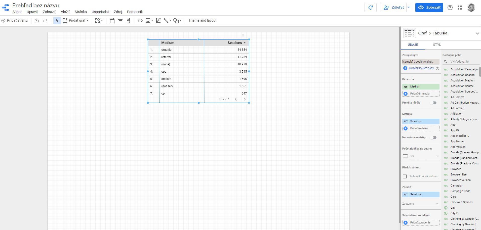 data studio - prehlad