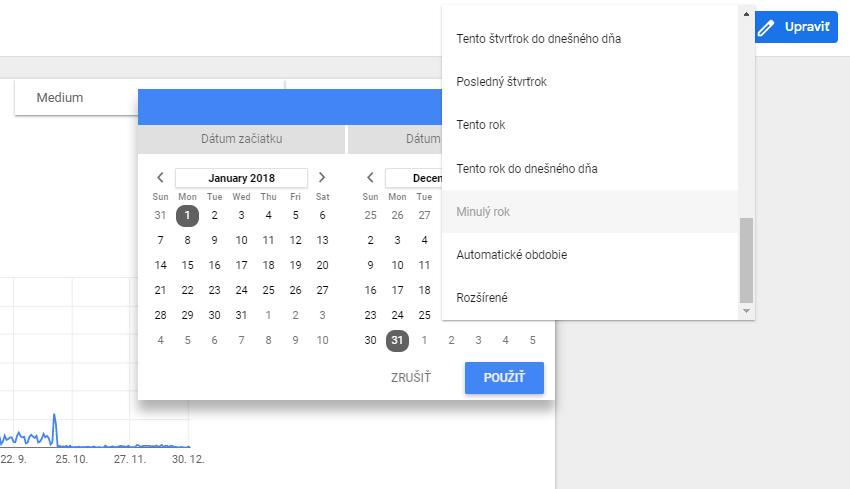 data studio - rozsah datumov