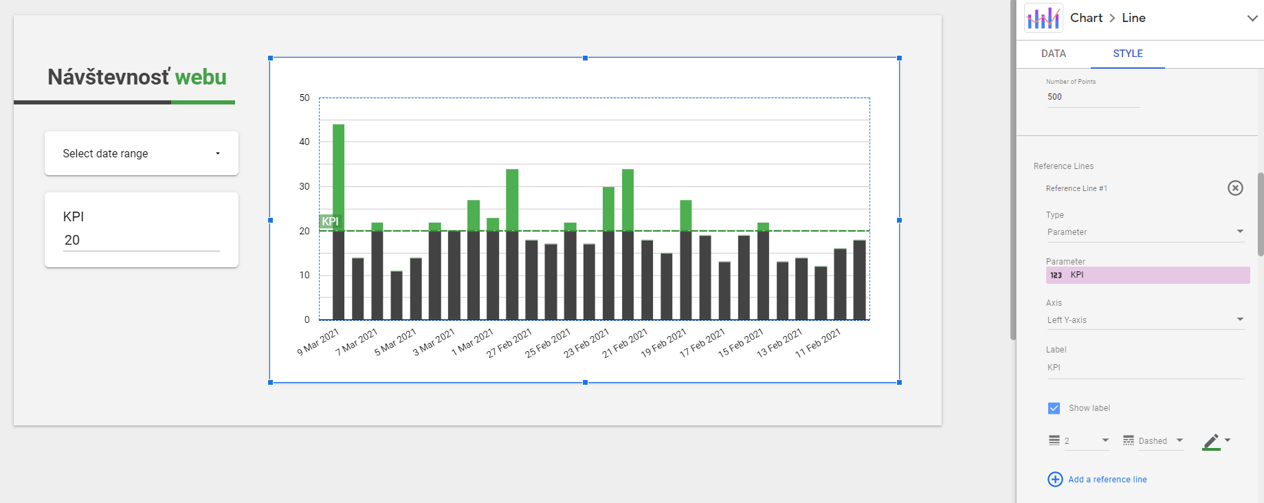 parameter reference line data studio