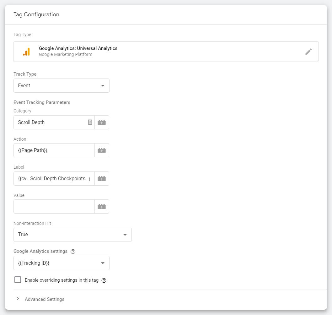Scroll Depth - Google Tag Manager nastavenie tagu